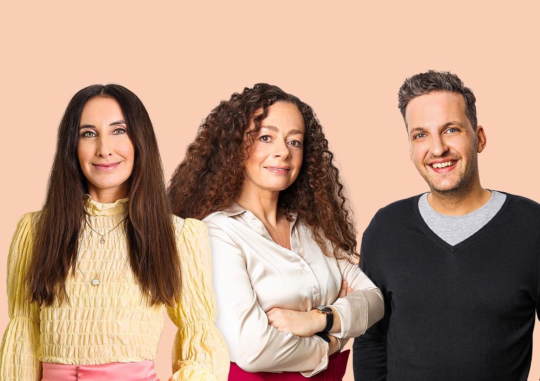 Podcast-Moderator*innen Mirna Funk, Shelly Kupferberg und Miron Tenenberg