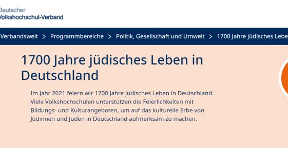 Screenshot der Landingpage des Volkshochschul-Verband zu 1700 Jahre JLID